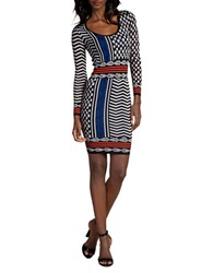 Plenty By Tracy Reese Slim Fit Sweater Dress Tribal Grid