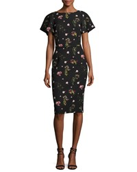 David Meister Floral Print Short Sleeve Cocktail Dress Black Multi