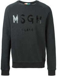 Msgm Logo Printed Sweatshirt Grey