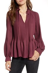 Treasure And Bond Pleated Peasant Top Red Tannin