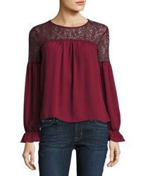 Free Generation Long Sleeve Lace Trim Top Dark Red