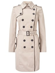 Jacques Vert Contrast Trim Trench Coat Neutral
