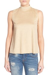 Junior Women's Sun And Shadow Faux Suede Swing Tank Beige Birch