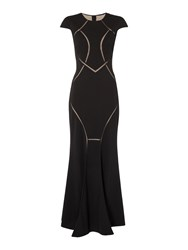 Untold Mesh Cut Out Gown Black