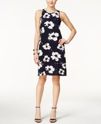 Alfani Petite Printed Shift Dress Only At Macy's Distressed Floral Navy