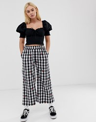 Lazy Oaf Relaxed Trousers In Gingham With Cherry Embroidery Black