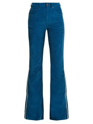 Rockins High Rise Cotton Blend Corduroy Flared Trousers Blue