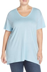 Plus Size Women's Sejour V Neck Tee Blue Crystal