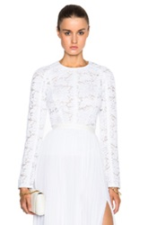 J. Mendel Floral Lace Long Sleeve Peplum Top In White