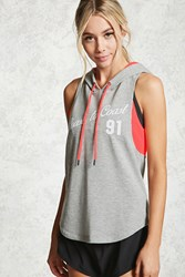 Forever 21 Active Coast To Coast Hoodie Heather Grey Pink