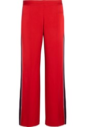 Mother Of Pearl Frona Striped Satin Straight Leg Pants Red