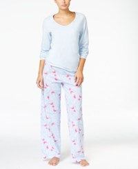 Charter Club Knit Solid Top And Printed Pants Pajama Set Only At Macy's Blue Birds