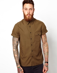 Asos Military Shirt In Short Sleeve Green