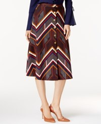 Ny Collection Printed Ponte A Line Skirt Mod Chevron