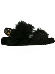Car Shoe Fur Embellished Slider Sandals Black