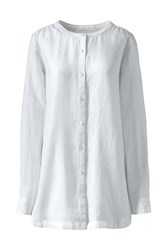 Lands' End Long Sleeve Collarless Linen Tunic White