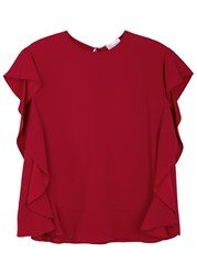 Red Valentino Ruffled Satin Crepe Top Red