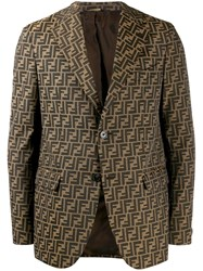 Fendi Ff All Over Logo Print Blazer Brown