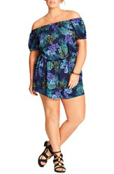 City Chic Plus Size Women's Easy Sunday Romper Pool Palm