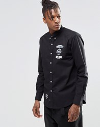 Aape By A Bathing Ape Short Sleeve Shirt With Metal Badge In Slim Fit Black