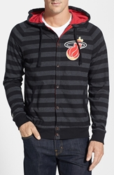 Mitchell And Ness 'Miami Heat' Stripe Button Front Jersey Hoodie Black
