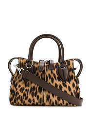 Tod's D Styling Leopard Print Micro Tote Brown