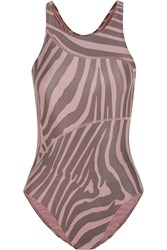 Adidas By Stella Mccartney Performance Cutout Printed Swimsuit And Swim Cap Blush