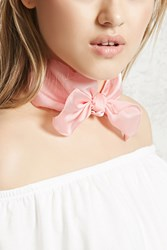 Forever 21 Satin Bow Choker Pink Silver