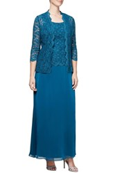Alex Evenings Sequin Lace And Chiffon Gown With Jacket Peacock