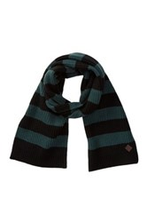 Cole Haan Striped Wool Scarf Black