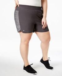 Ideology Plus Size Woven Performance Shorts Deep Charcoal