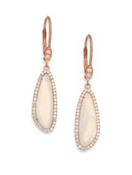 Meira T Chalcedony Mother Of Pearl Diamond And 14K Rose Gold Doublet Drop Earrings