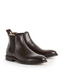 Reiss Tenor Leather Chelsea Boots In Dark Brown
