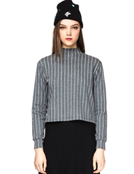 Pixie Market Anja Grey Stripe Mock Neck Top