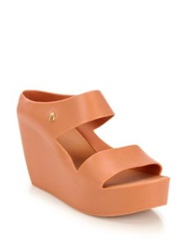 Melissa Plastic Wedge Slide Sandals Black Coral
