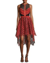 Jonathan Simkhai Lace And Organza High Low Dress Red Combo