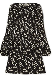Maje Pleated Floral Print Crepe Mini Dress Black