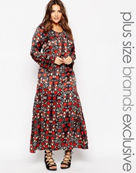 Alice And You Winter Floral Print Maxi Dress With Lace Up Front Multi