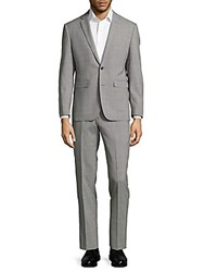 Vince Camuto Extreme Slim Fit Plaid Wool Suit Light Grey
