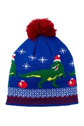 Bioworld Holiday Dino Pompom Beanie Blue