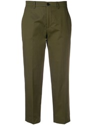 Berwich Cropped Tailored Trousers Green