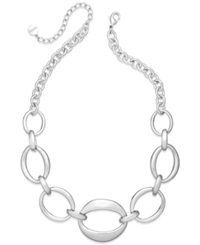 Alfani Oval Chain Frontal Necklace Silver