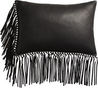 Cb2 Leather Fringe Black 18 X12 Pillow With Feather Down Insert