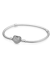 Pandora Design Pandora Bracelet Sterling Silver And Cubic Zirconia Pave Heart Moments Collection
