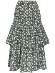 Golden Goose Deluxe Brand Miranda Floral Check Tiered Midi Skirt Green