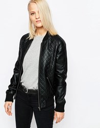 Barney's Originals Pu Leather Look College Jacket Black