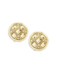 House Of Harlow Phoebe Caged Button Clip On Earrings Gold