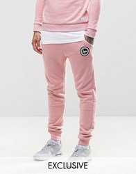 Hype Skinny Joggers With Crest Logo Pink