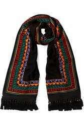 Janavi Embellished Merino Wool And Cashmere Blend Scarf Black
