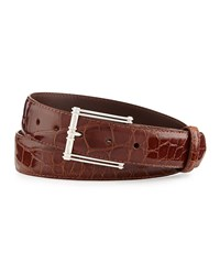 W.Kleinberg Glazed Alligator Belt With 'The Chair' Buckle Cognac Made To Order Red